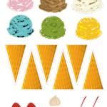 Cut and Paste Ice cream cone Worksheet アイスクリーム 工作プリント