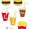 Free printable cutting sheet hamburger set ハンバーガー工作プリント はさみの練習