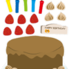 Cut and Paste Birthday Cake Worksheet ケーキ工作プリント