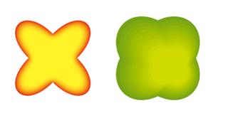 イラレ Illustrator 2色のグラデーション パス・オブジェクトの形でグラデーションを作成 ぼかし・光彩・ブレンドツール
