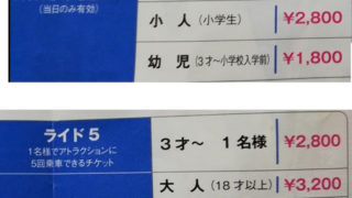 東京ドームシティ アトラクションズ 乗り物 身長と年齢制限 後楽園ゆうえんち(昔)お得なアトラクション1回券