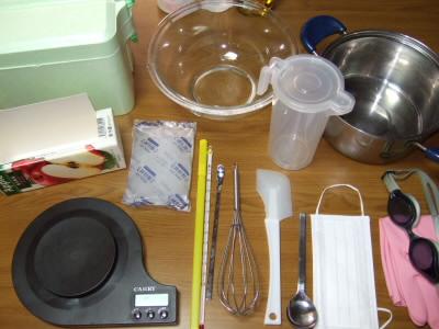 石けん作りの道具