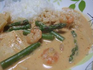 タイ料理 レッドカレー エビ