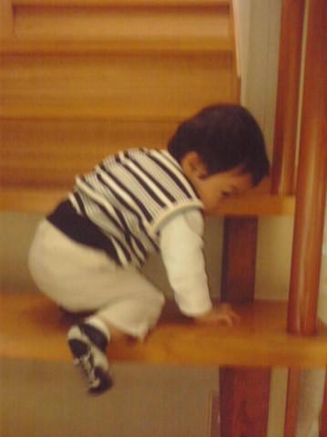 赤ちゃん 階段で遊ぶ 階段が大好き